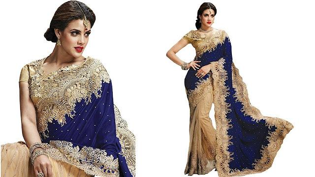 Jay Fashion Self Design Fashion Velvet, Net Saree  (Blue, Beige)