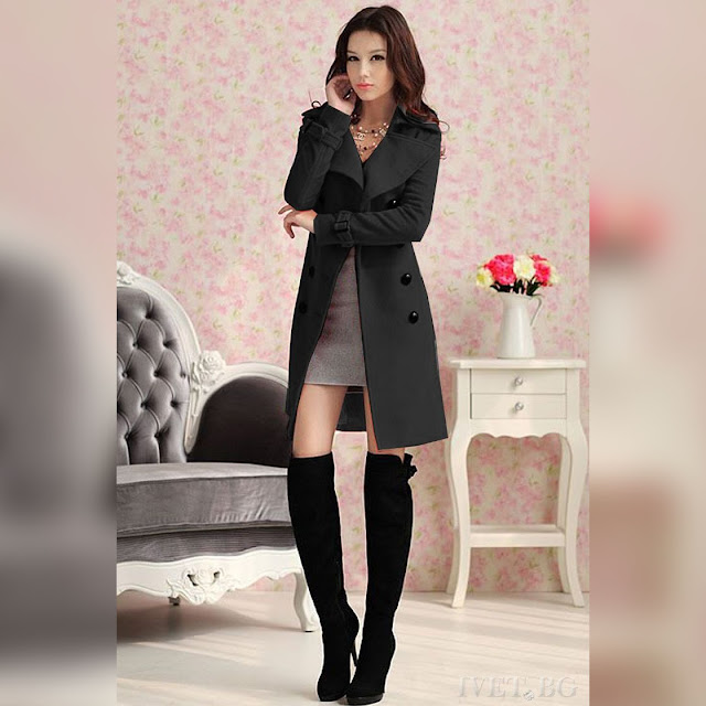 Γυναικείο μαύρο παλτό SONINA BLACK