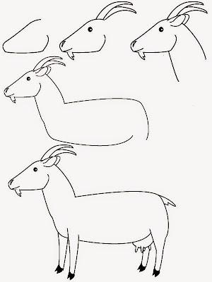 как нарисовать козу для детей