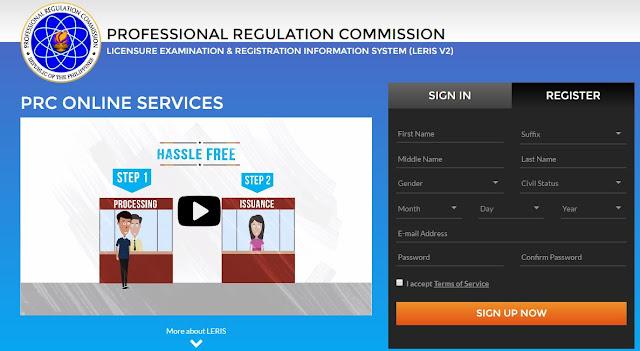 PRC online services portal