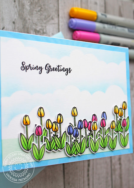 Sunny Studio Stamps: Spring Greetings Easter Wishes Spring Themed Card by Vanessa Menhorn