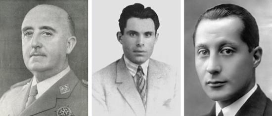 Franco, Durruti y Primo de Rivera