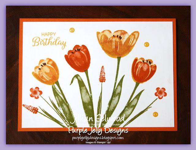 Tranquil Tulips, Daffodil Delight, Pumpkin Pie, Old Olive, Birthday card
