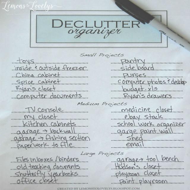 Declutter Organizer Printable