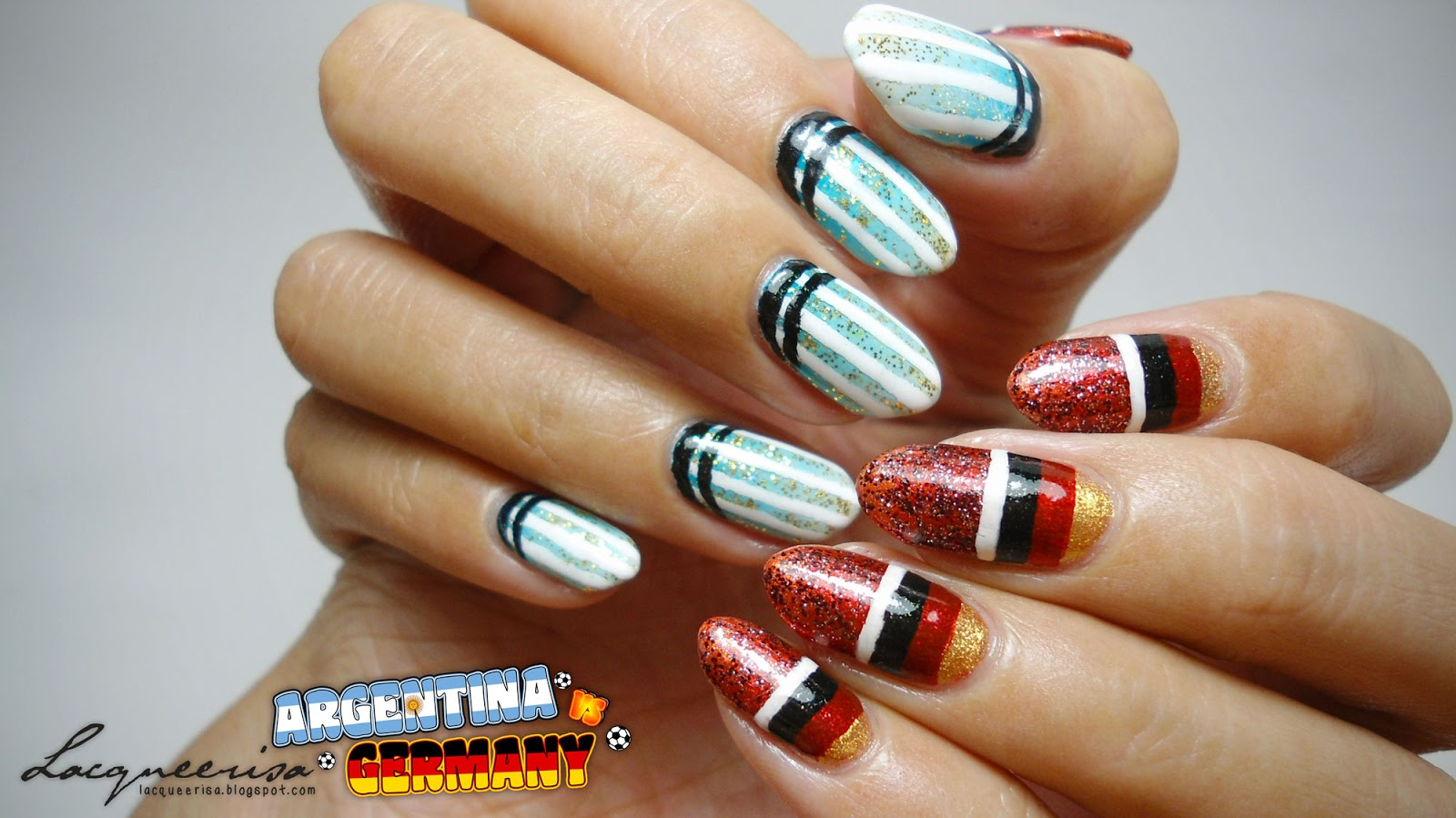 Argentina vs Germany Nails lacqueerisa.blogspot.com