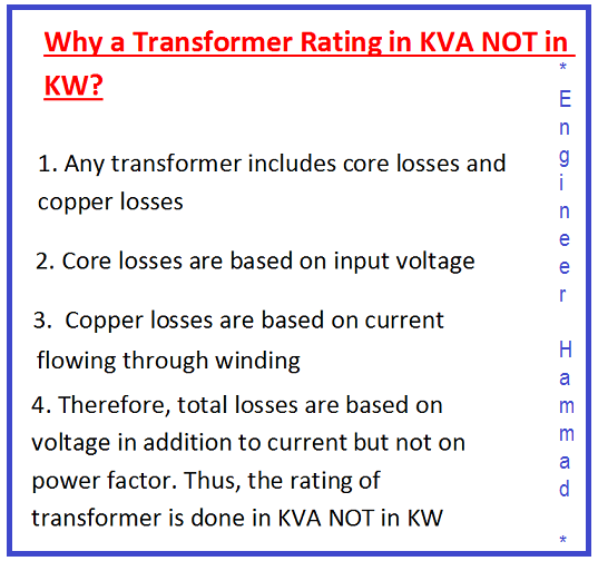 why transformer rating in kva, transformer rating in kw, transformer core losses,