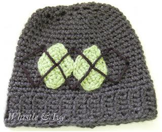 Cute Baby Boy or Girl Argyle Crochet Hat Free pattern