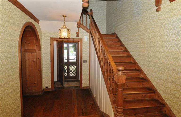 Our Arts And Crafts Home Dreamy Knotty Pine Estate Part Ii Now | Knotty Pine Stair Railing | Tongue Groove | Antique Wooden Stair | Log | White | Newel Post