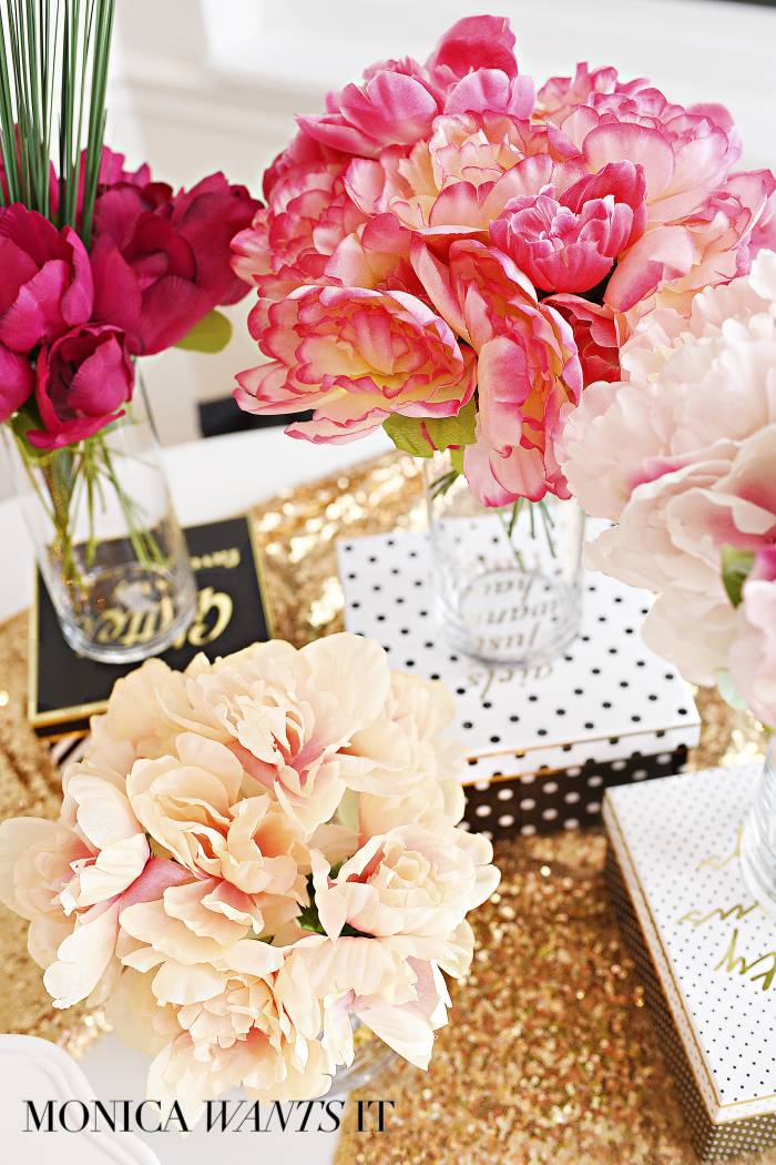 Get inspiration, decor ideas, free printables, recipes and more in this gorgeous pink and gold floral arranging party plan via monicawantsit.com