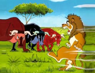 Il leone contro tre buoi - Esopo