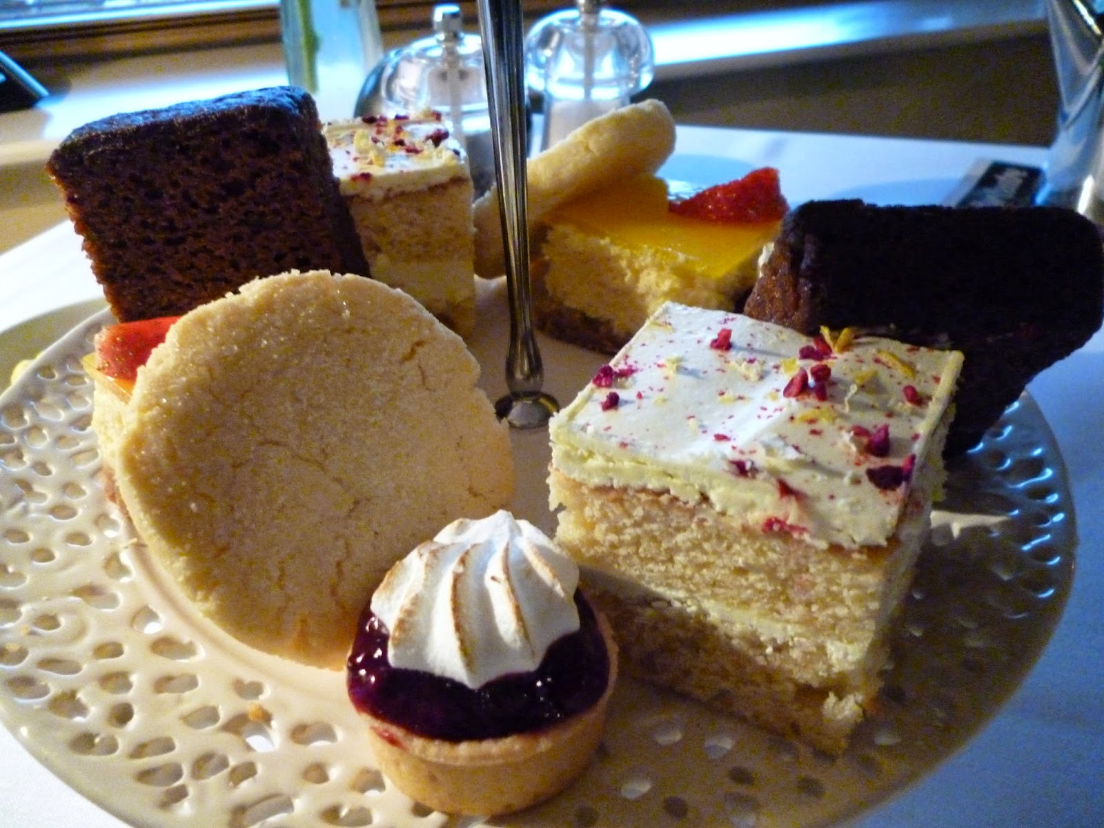 Afternoon Tea cakes at Ox Pasture Hall Hotel