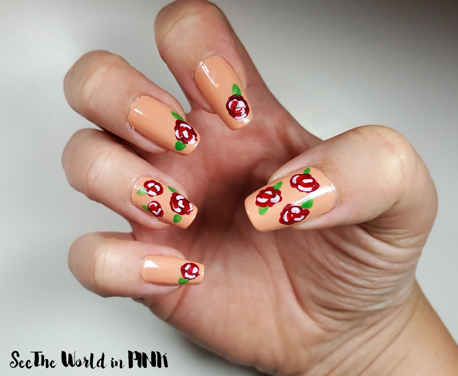 Manicure Monday - Red Rose Nail Art!
