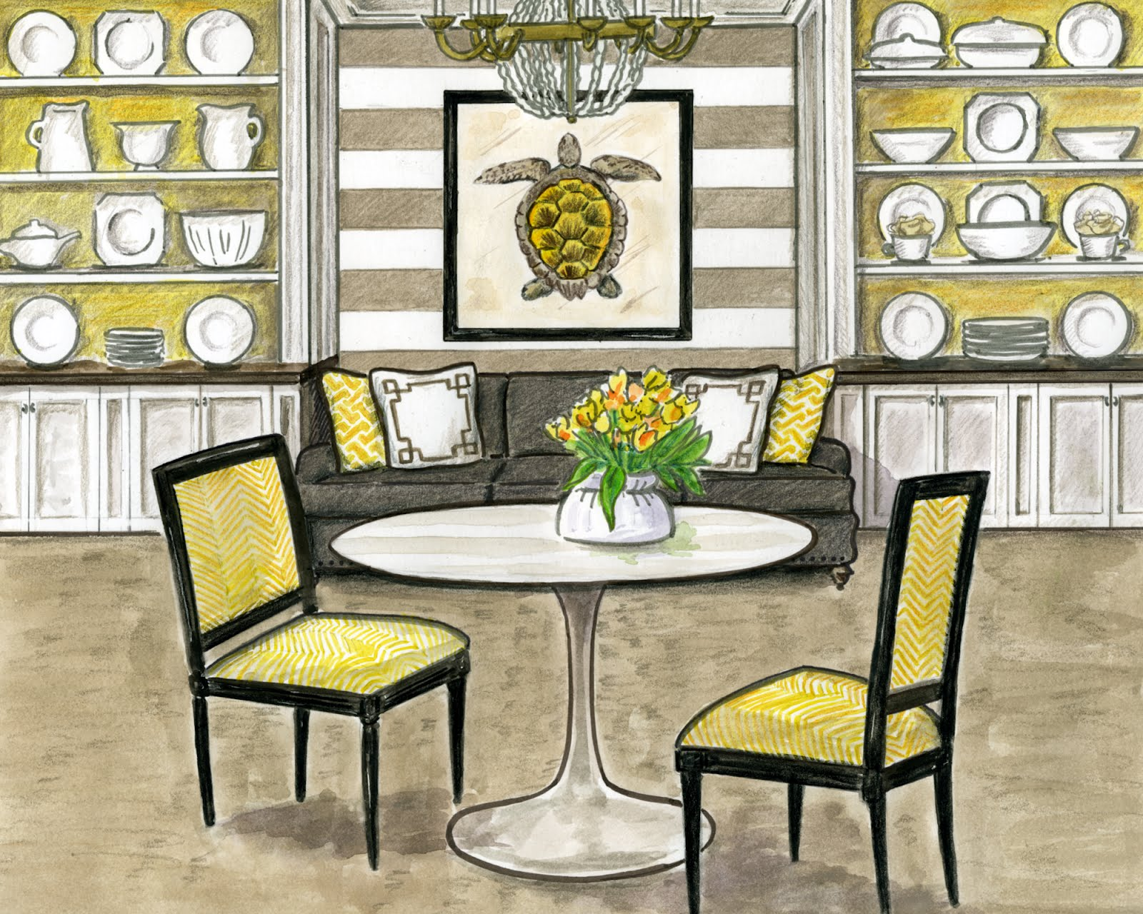 Amy Zaleski Illustration & Lettering: Interior Design Rendering