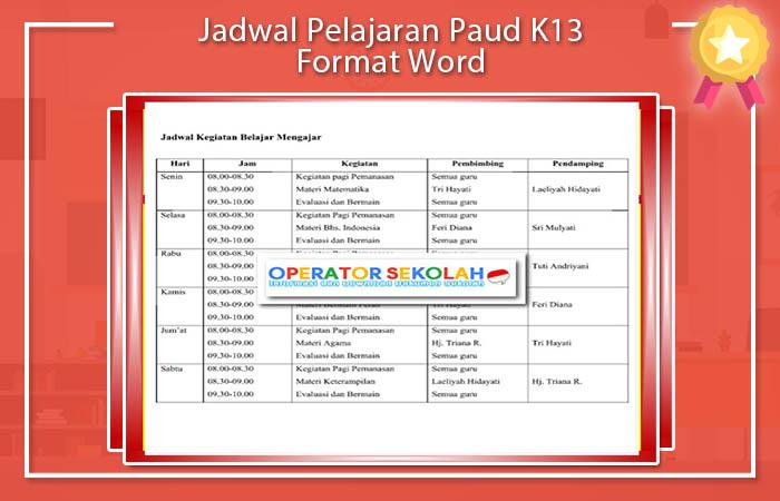 Jadwal Pelajaran Paud K13