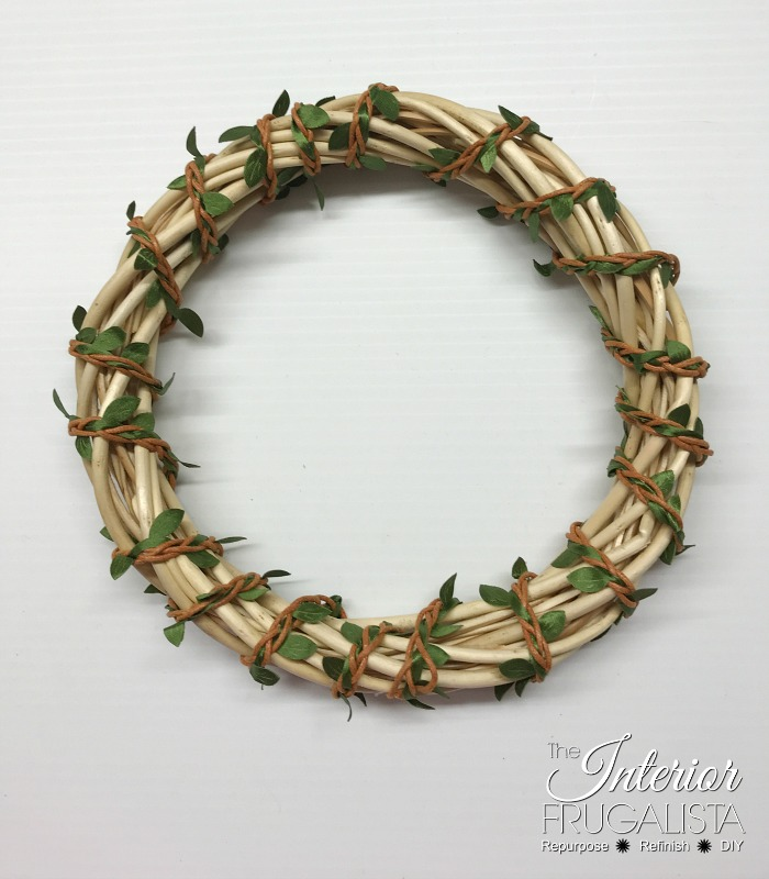 DIY Fall Dollar Store Wreath Leaf Vine Ribbon