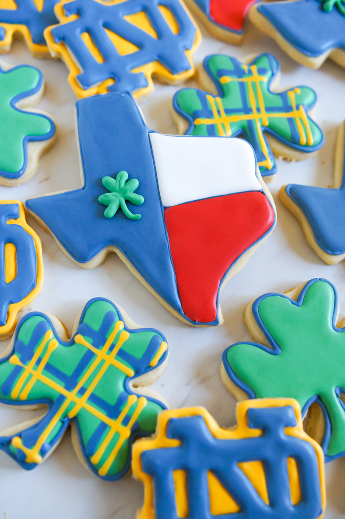 Texas Notre Dame decorated cookies