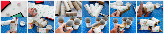 Dog and cat gift wrapping made from recycled cardboard tubes, wrapped and stamped with paw prints