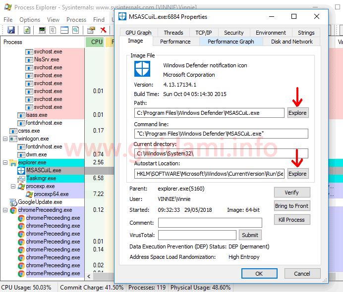Process Explorer interfaccia grafica