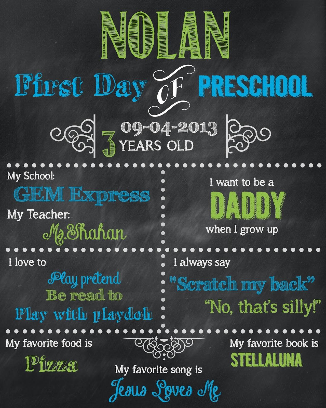 FirstDayofSchool Nolan - When Does Kindergarten Start