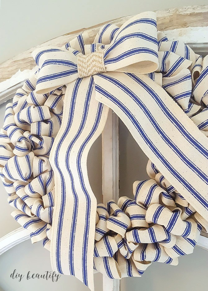 blue ticking striped wreath