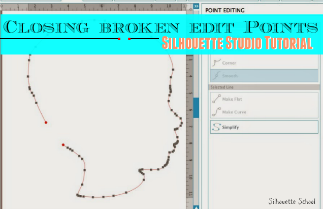 Silhouette Studio, closing broken edit points, closing a shape
