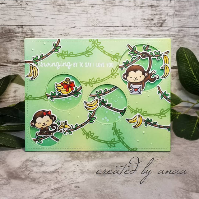 Sunny Studio Stamps: Love Monkey Staggered Circle Dies Customer Card Share by Ana A