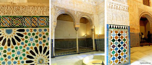 Detalhes decorativos da Alhambra, Granada