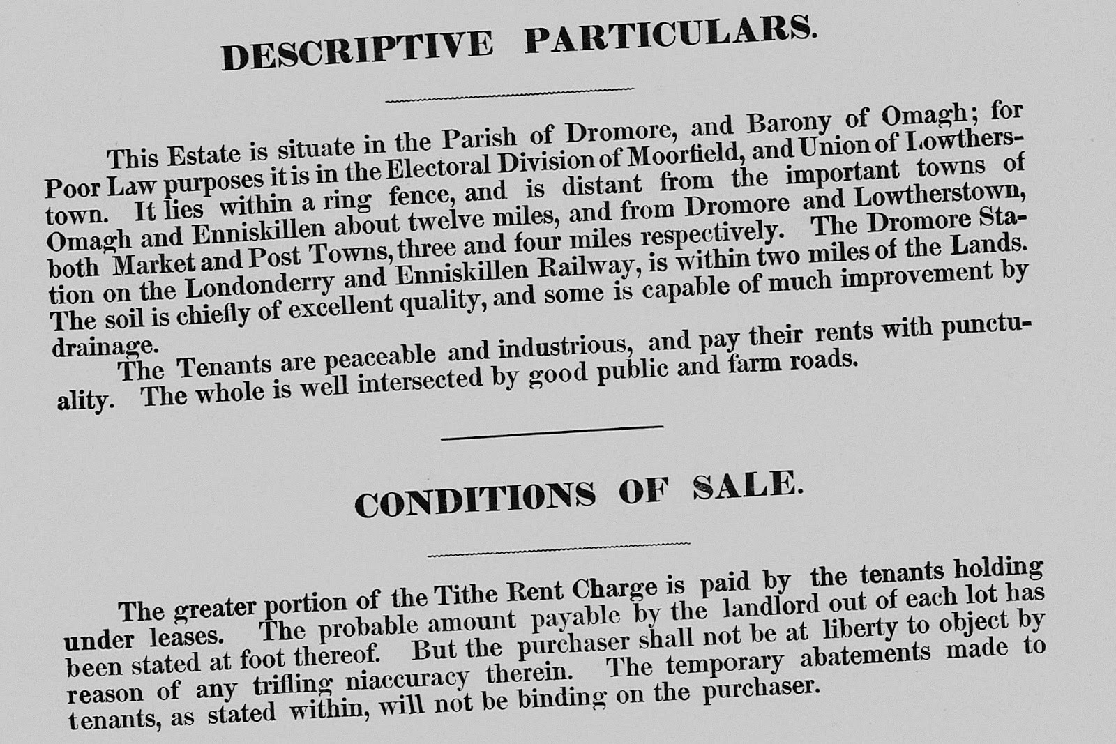 there are 16 pages to the tummery encumbered estates sales package including maps showing the placement of each lot leased in 1805 by comparing these maps