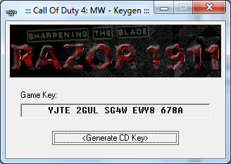 Free key code for call of duty 4 pc.