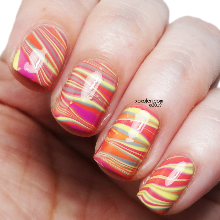 xoxoJen's swatch of Ethereal Lacquer Summer Tropics Watermarble