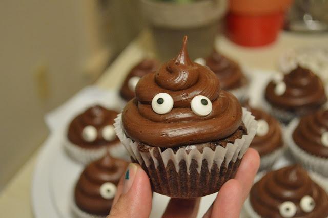 Cute poop emoji cupcake
