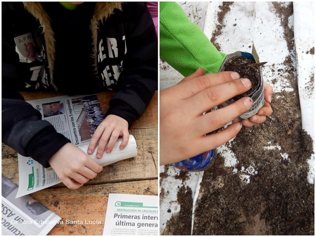 Preparando macetas de papel para plantar zapallitos - Chacra Educativa Santa Lucía