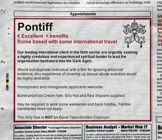 Funny spoof pontiff newspaper job advert picture
