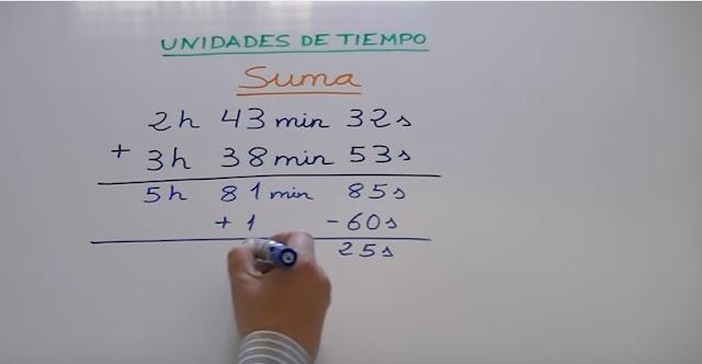 4º Primaria Matematicas Sumar Unidades De Tiempo Horas Minutos Y Segundos
