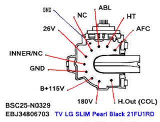 Data Pin Out Flyback BSC25-N0329 / EBJ34806703 TV LG SLIM Pearl Black 21FU1RD