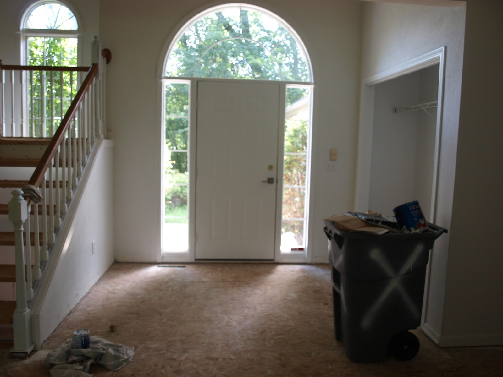 Before picture of front door at fixer upper for Hello Lovely Studio