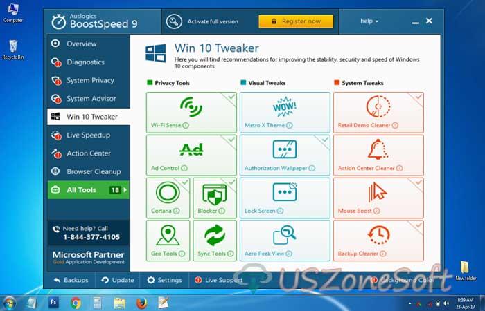 Auslogics BoostSpeed pc faster program. Hard Disk -HDD Defrager, system advisor, windows cleaner, startup application manager free download