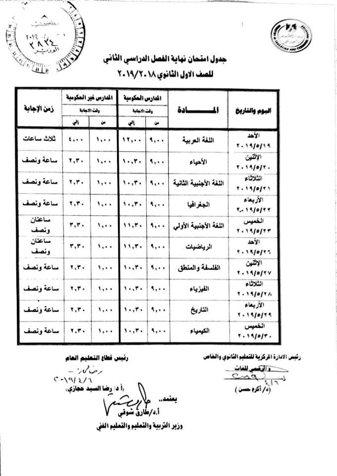 جدول امتحانات الصف الأول الثانوي 2019