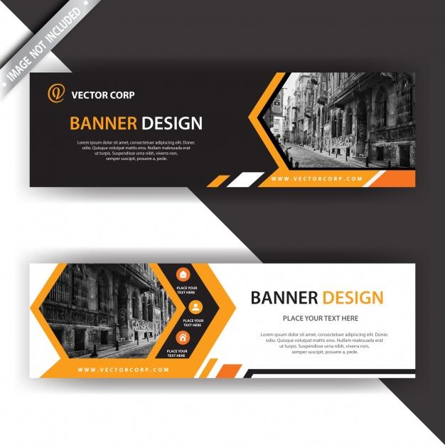 Black and orange banner Free Vector