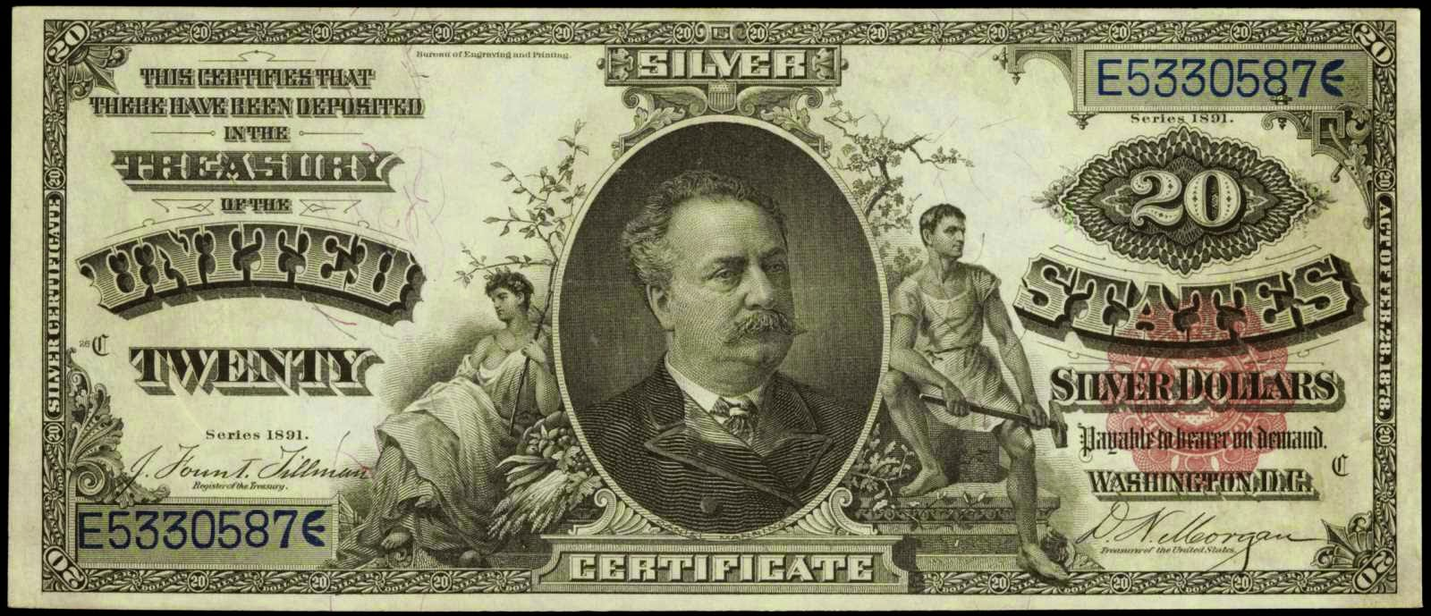 US currency 1891 Twenty Dollar Silver Certificate Daniel Manning
