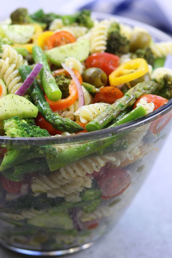 An easy, simple, light and refreshing pasta salad that both little ones and adults will love. Perfect way to get your veggies in.