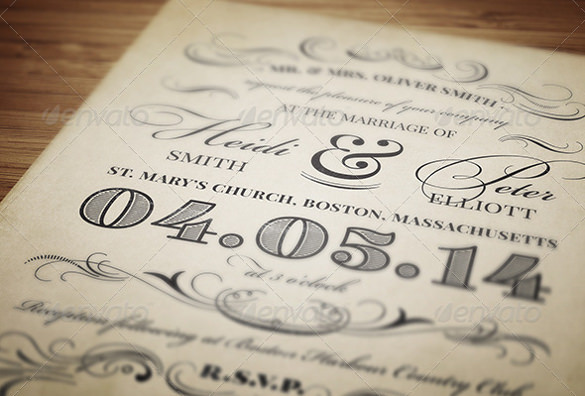 Vintage Inspired Wedding Invitation