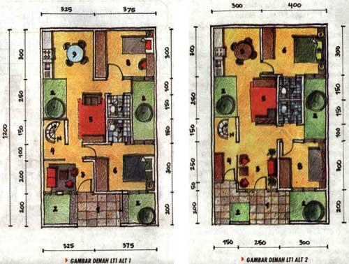 gambar denah rumah type 36 2 lantai