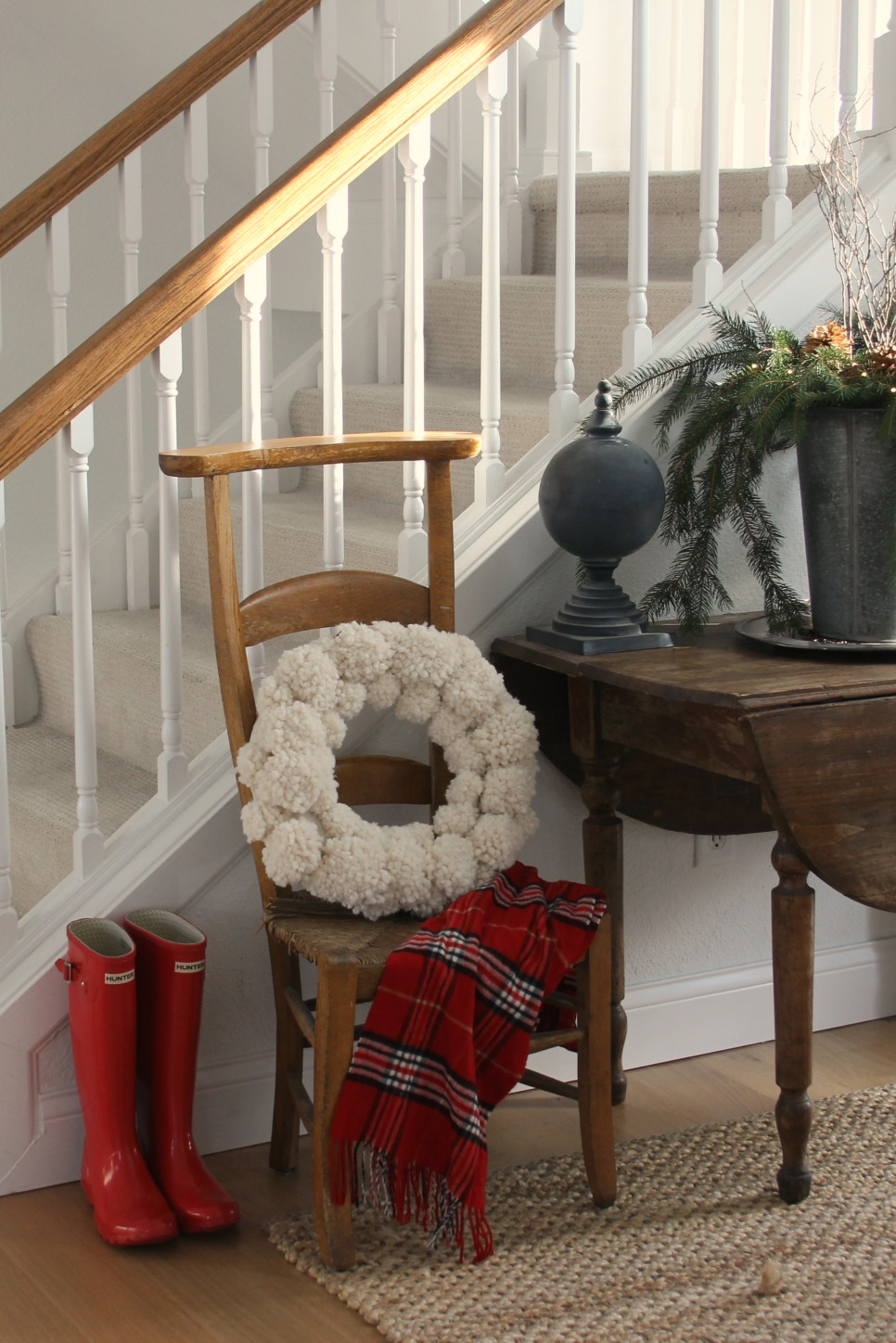 image result for farmhouse christmas pom pom wreath red boots prayer chair