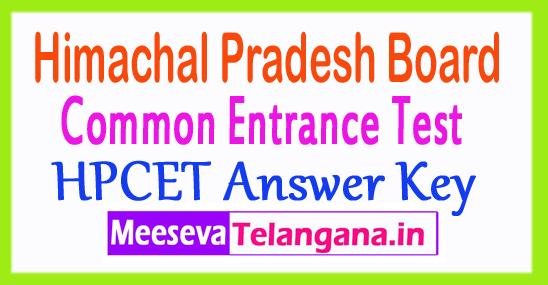 Himachal Pradesh CET HPCET Answer Key 2018 Download