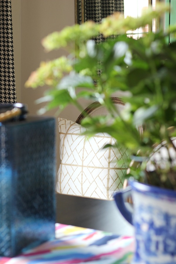 Dining room styling, bamboo lattice pillow, Shelby Dillon Studio, blue glass bamboo lantern