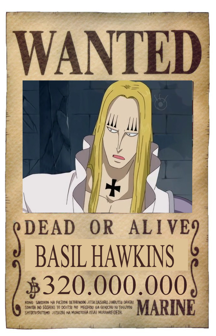 BOUNTY WANTED DEAD OR ALIVE BASIL HAWKINS