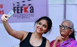 Keerthi suresh Hot in black dress taking selfie