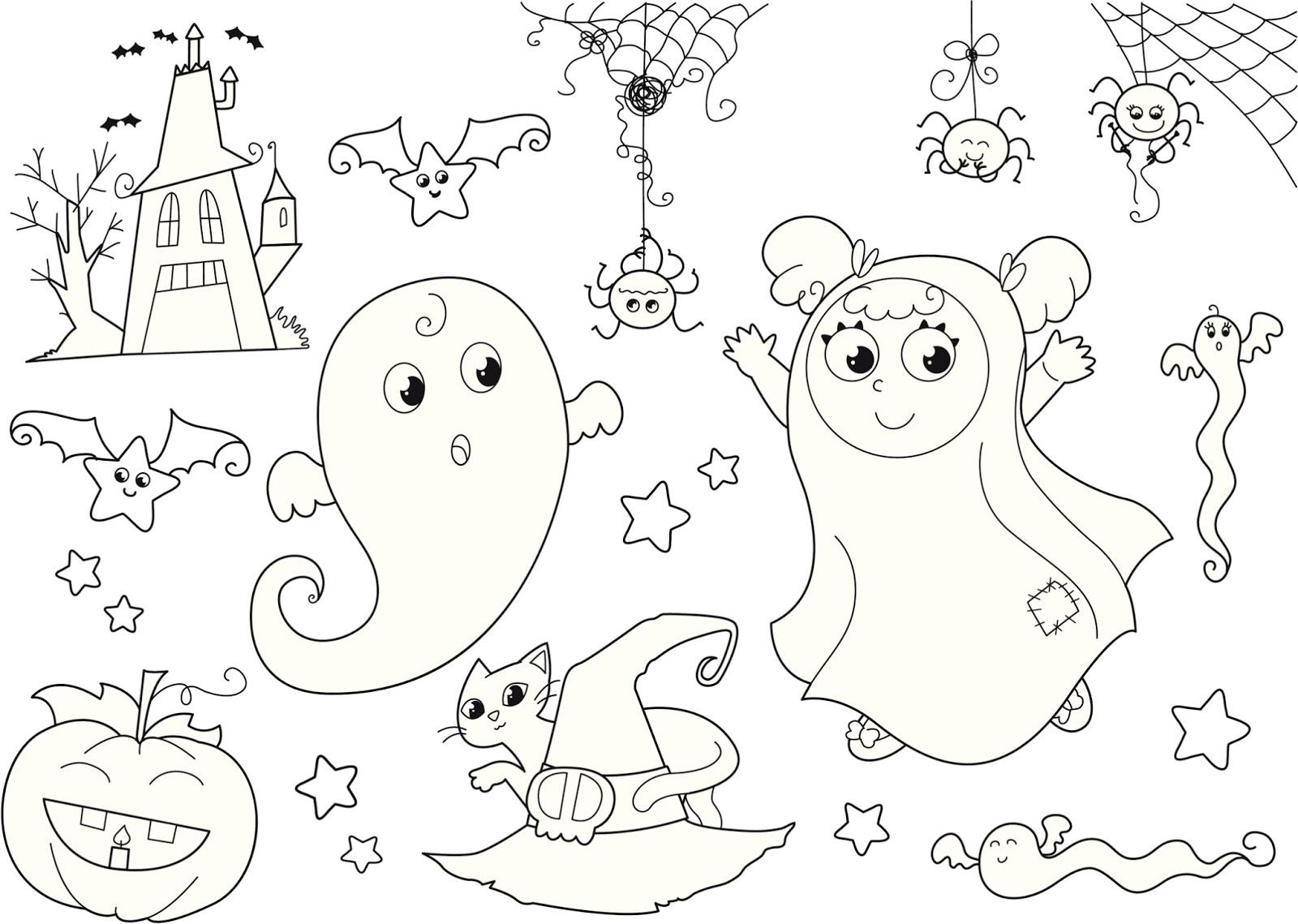 Arañas De Halloween Para Colorear: Banco De Imagenes Y Fotos Gratis: Dibujos De Halloween