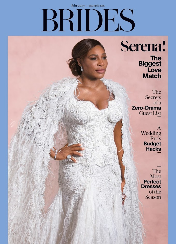 Serena Williams is Super Gorgeous for Brides Magazine's February/March 2018 Double Cover